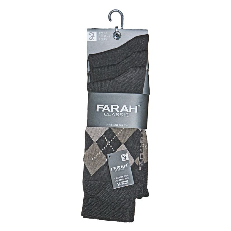 3 Pack Mens Brown Classic Argyle Socks