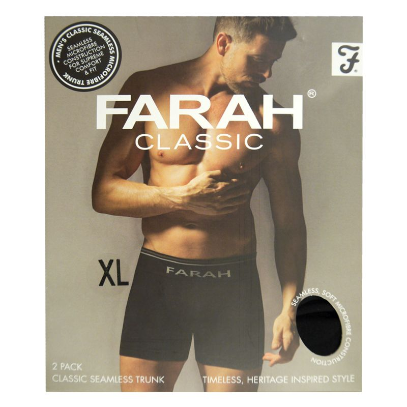 2 Pack Mens Black X Large Seamless Farah Trunks