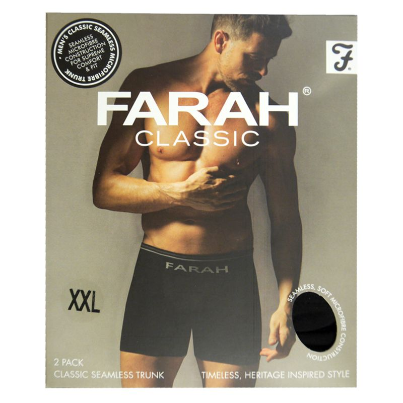 2 Pack Mens Black XX Large Seamless Farah Trunks