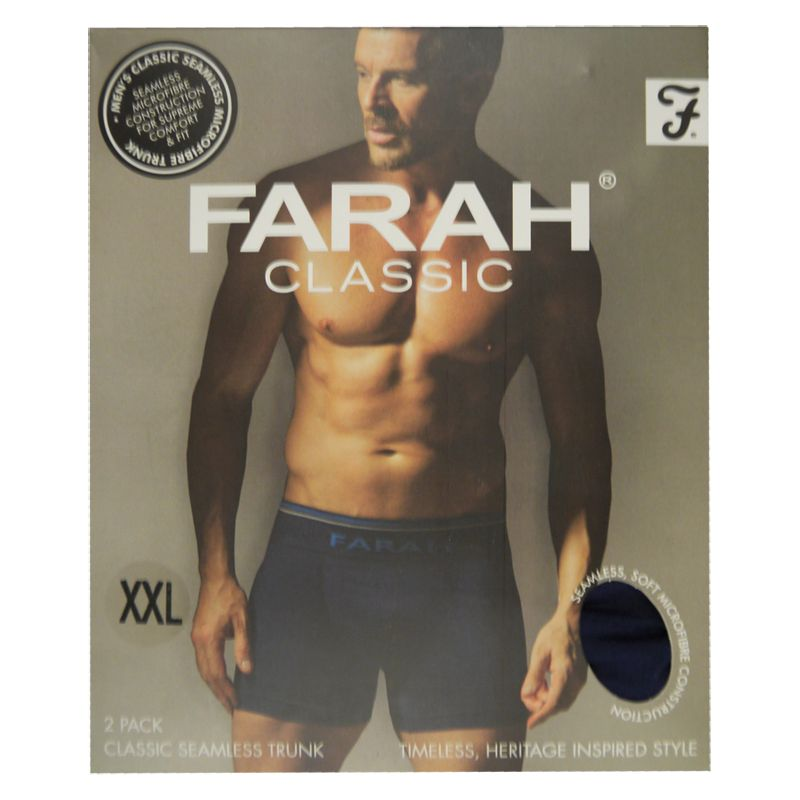 2 Pack Mens Navy XX Large Seamless Farah Trunks