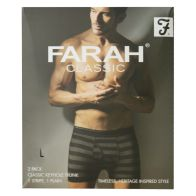 See more information about the 2 Pack Mens Black & Charcoal Large Stripe Plain Farah Trunks
