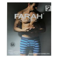 See more information about the 2 Pack Mens Navy Medium Stripe Plain Farah Trunks