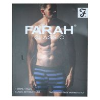 See more information about the 2 Pack Mens Navy Large Stripe Plain Farah Trunks