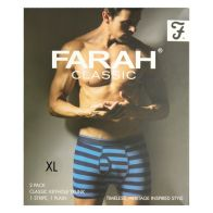 See more information about the 2 Pack Mens Navy X Large Stripe Plain Farah Trunks