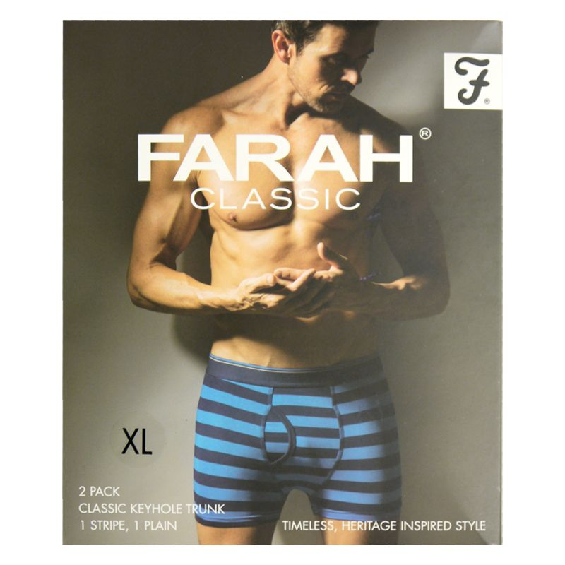 2 Pack Mens Navy X Large Stripe Plain Farah Trunks