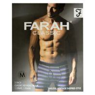 See more information about the 2 Pack Mens Purple Charcoal Medium Stripe Plain Farah Trunks