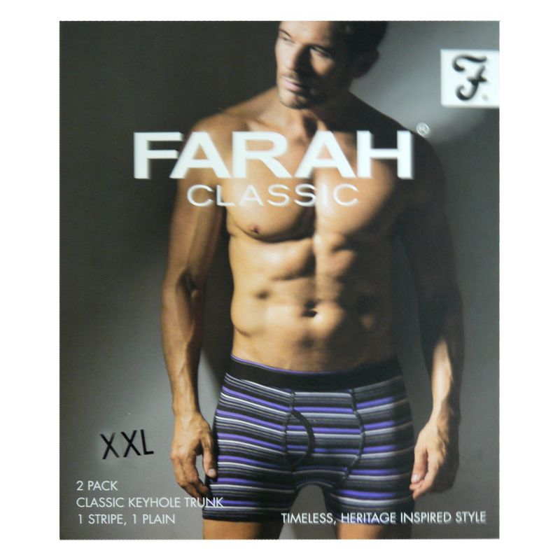2 Pack Mens Purple Charcoal XX Large Stripe Plain Farah Trunks