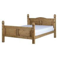 See more information about the Corona Distressed Waxed Pine High Foot End King Bed