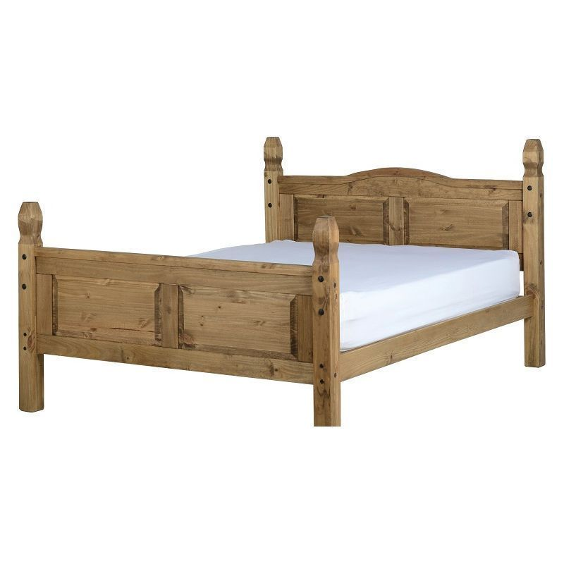 Corona Distressed Waxed Pine High Foot End King Bed