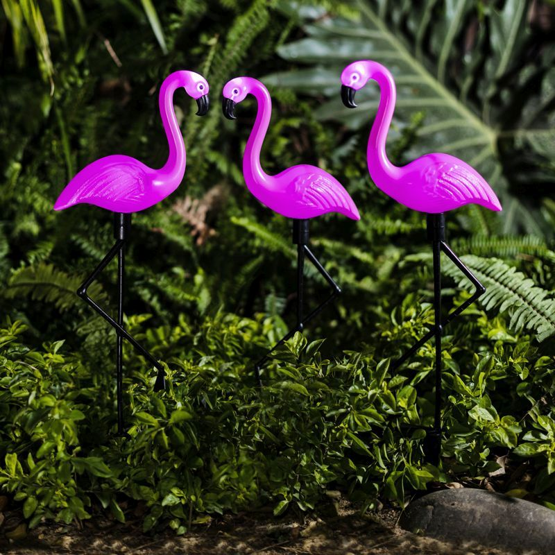 Bright Garden 3 Pack Flamingo Solar Stake Light