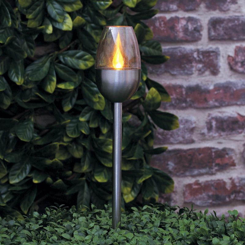 Bright Garden Solar Torch Flame Stake Light