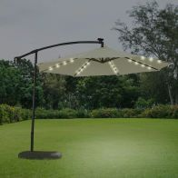 See more information about the Croft 3M Cream Overhang Solar LED Garden Parasol