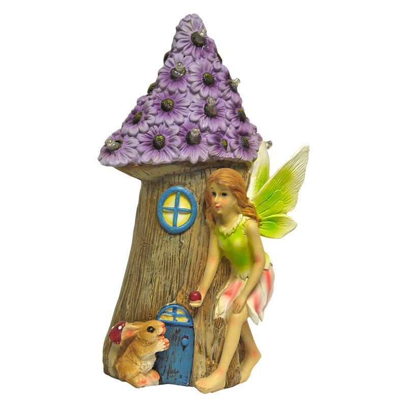 Magical Garden Solar Powered Woodland Fairy House - Purple