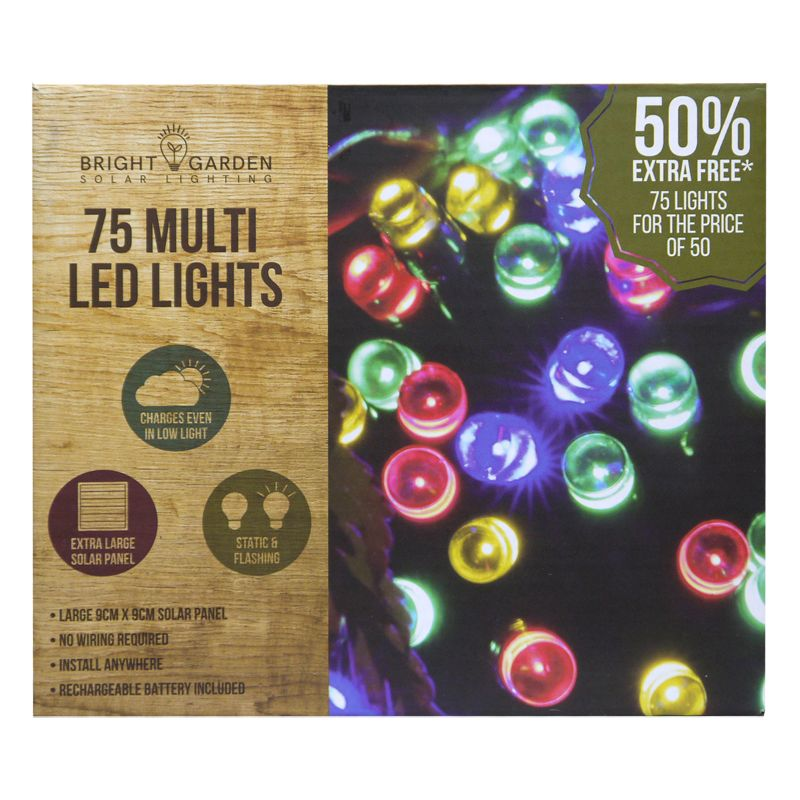 Bright Garden 50Pk Multi Col Solar Lights +50% Free