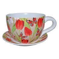 See more information about the Decorative Tea Cup Planter Red Tulip