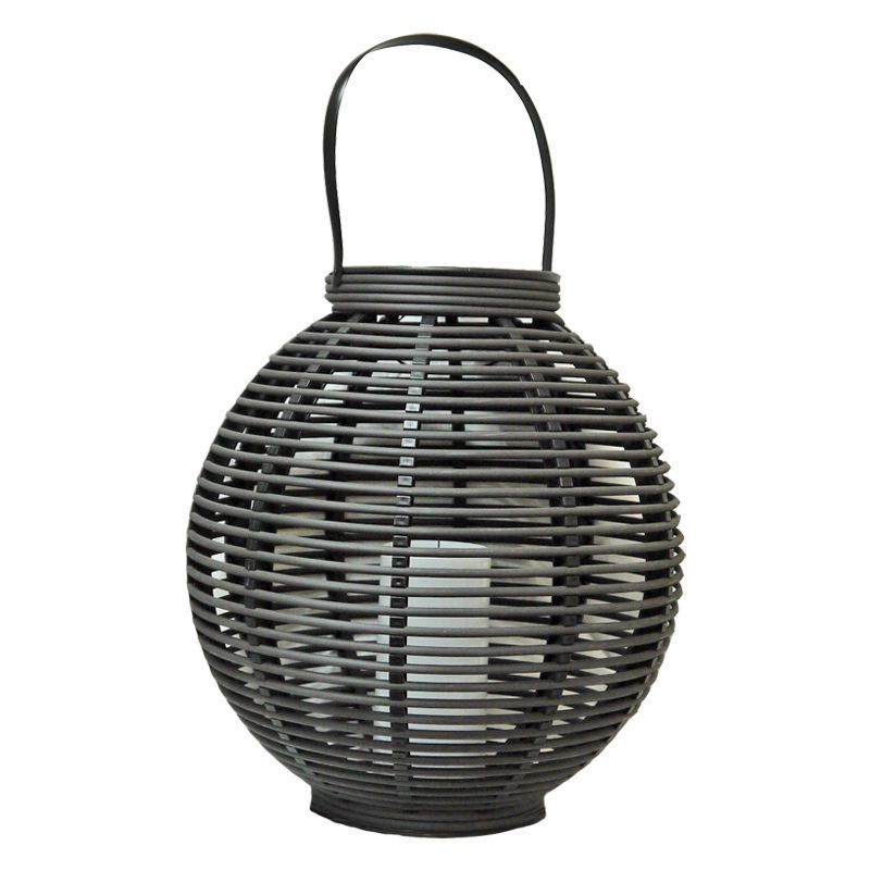Bright Garden Giant Rattan Solar Lantern LED Dark Brown