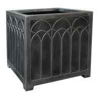 See more information about the 38cm Large Square Gothic Planter Pewter Effect