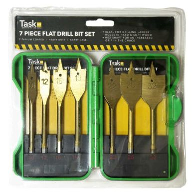 Image of 7pc Flat Drill Bit Set Green Case