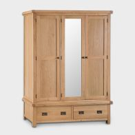 See more information about the Cotswold Wardrobe Oak 3 Door 2 Drawer With Mirror
