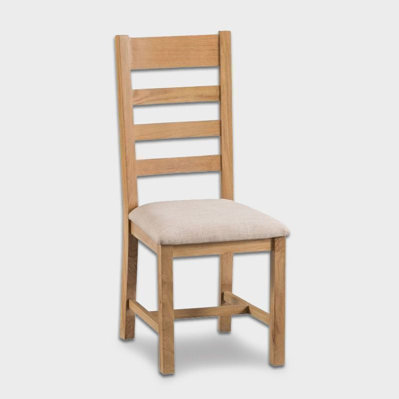 Cotswold Oak Dining Ladder Back Chair Fabric Seat Furniture