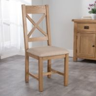 See more information about the Cotswold Cross Back Dining Chair Oak With Fabric Seat