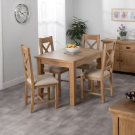 See more information about the Cotswold Oak Dining Table Set With 4 Cross Back Chairs