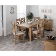 See more information about the Cotswold Oak Medium Dining Table Set With 6 Cross Back Chairs