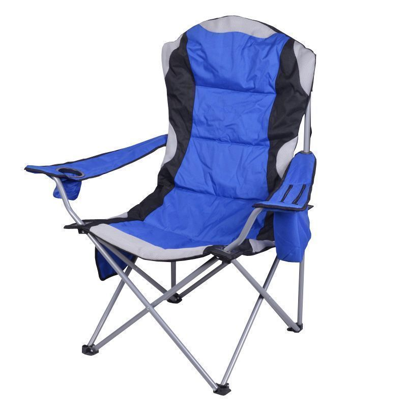 Luxury Padded Camping Chair with Drink Pocket - Blue