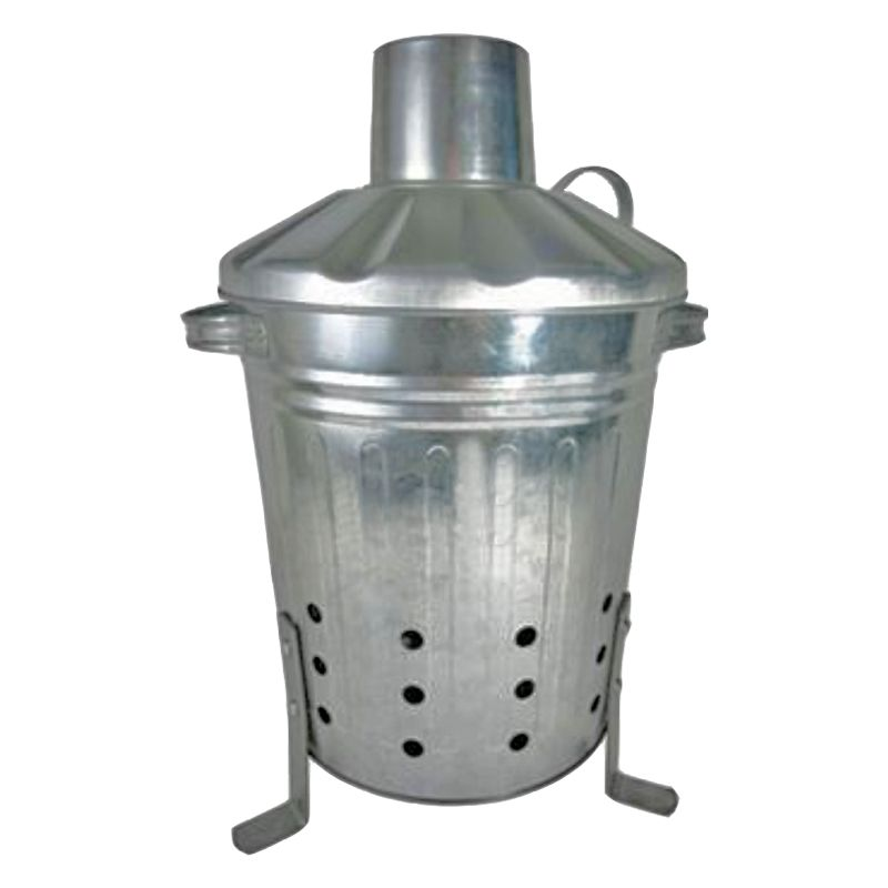 13 Litre Mini Galvanised Garden Incinerator & Lid - Made in the UK