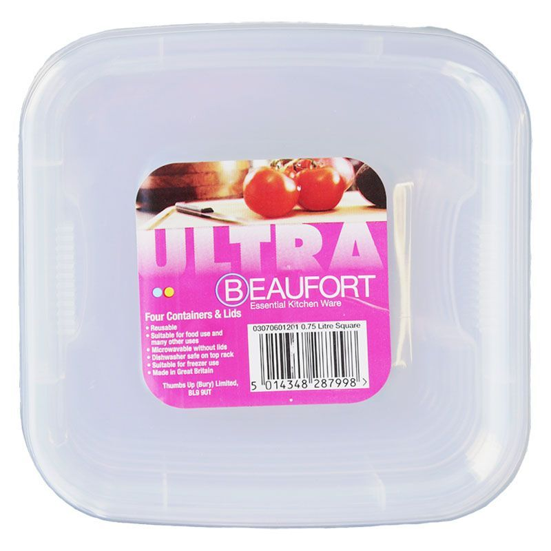 Beaufort Pack of 4 0.75 Litre Square Food Containers