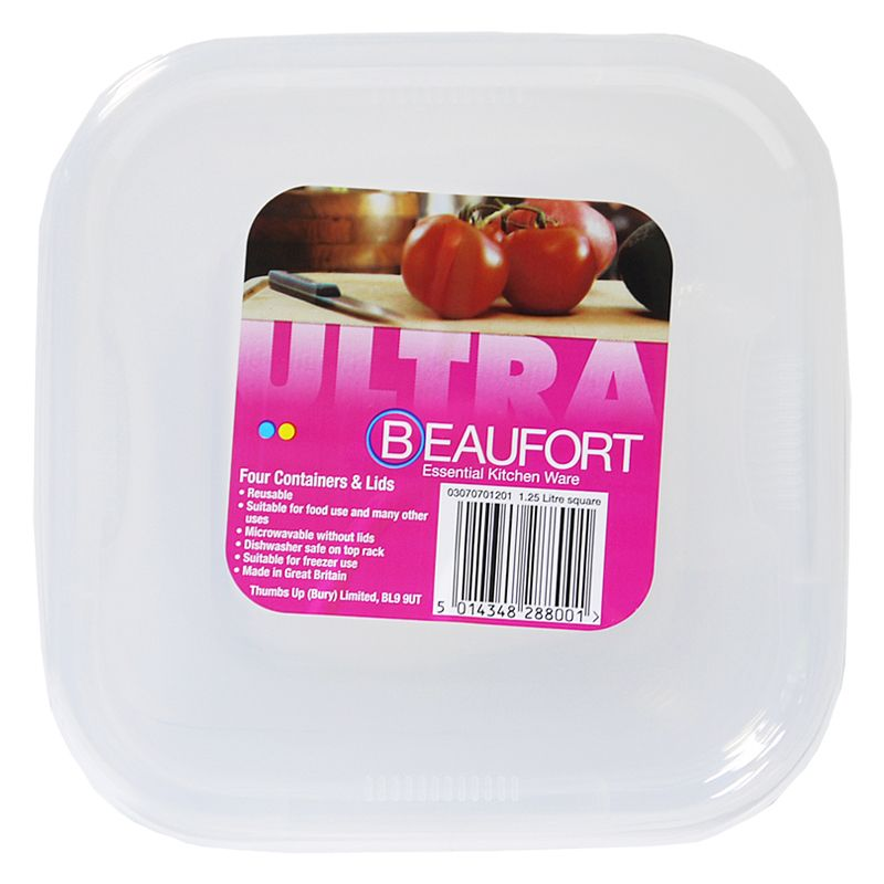 Beaufort Pack of 4 1.25 Litre Square Food Containers