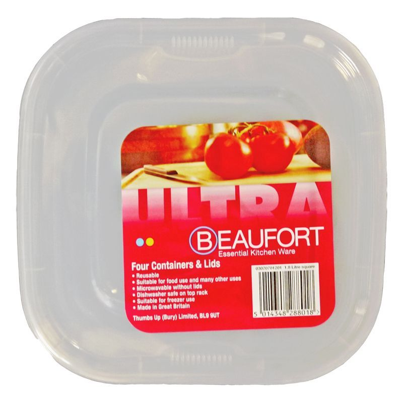 Beaufort Pack of 4 1.8 Litre Square Food Containers