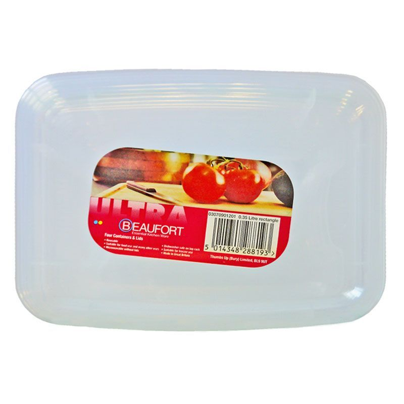 Beaufort Pack of 4 0.35 Litre Rectangular Food Containers