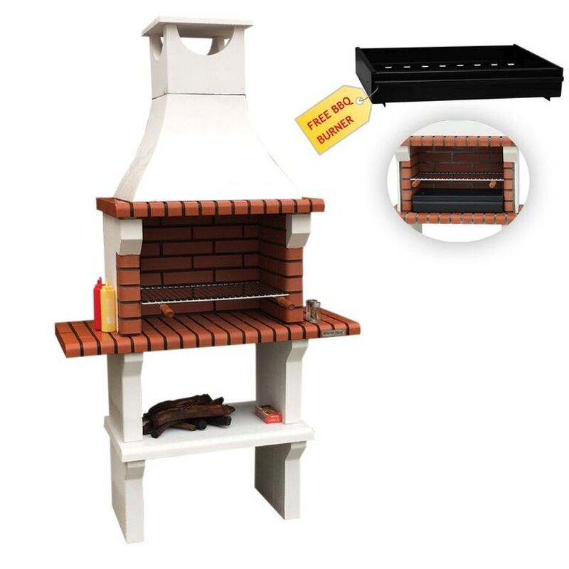 Xclusive Florida Masonry Charcoal Barbecue & 2 Side Table 212 x 117cm