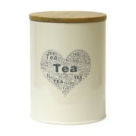See more information about the Tea Heart Design Storage Jar Tin With Bamboo Lid
