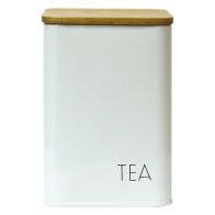 See more information about the Tea Square Storage Jar With Bamboo Lid White With Black Text