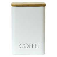 See more information about the Coffee Square Storage Jar With Bamboo Lid White With Black Text