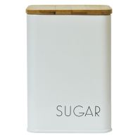 See more information about the Sugar Square Storage Jar With Bamboo Lid White With Black Text
