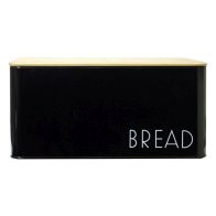 See more information about the Bread Storage Jar With Bamboo Lid Black With White Text