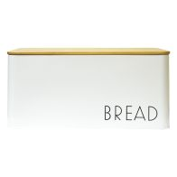 See more information about the Bread Storage Jar With Bamboo Lid White With Black Text