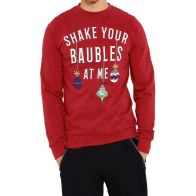 See more information about the Mens Christmas Shake Baubles Sweatshirt Red Small