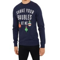 See more information about the Mens Christmas Shake Baubles Sweatshirt Navy Small