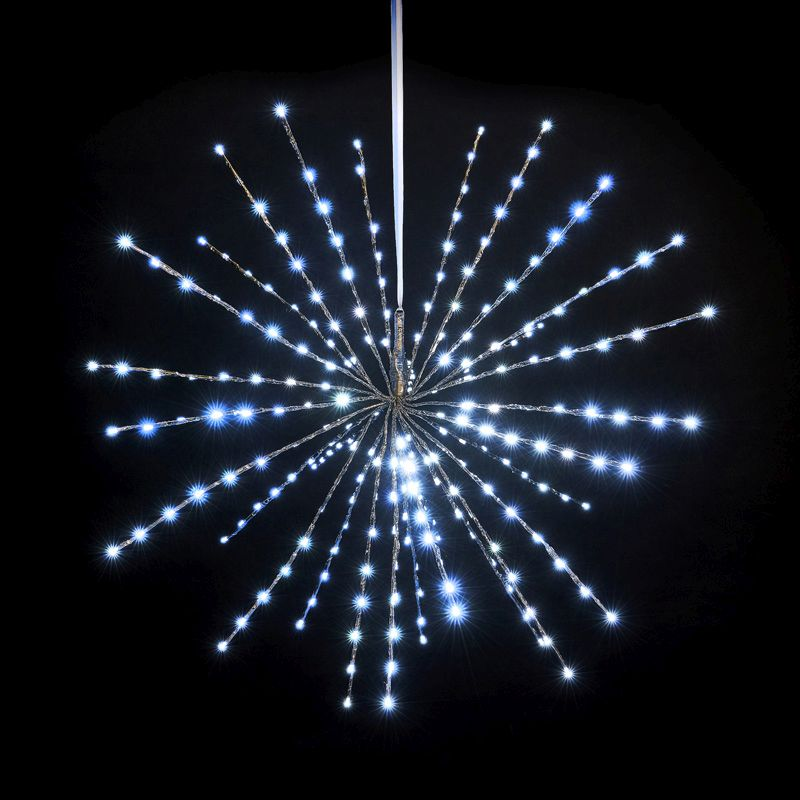 240 LED White Outdoor Animated Sparkle Branch Ball Light Mains 90cm