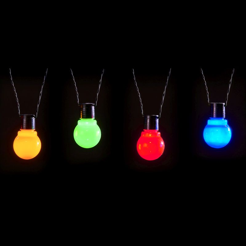 20 LED Multicolour Outdoor Static Bulb Party Lights Battery 5.7m