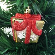 See more information about the 4 Pack of Red & Gold Parcels Christmas Tree Decorations