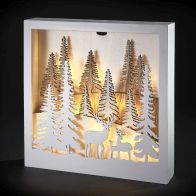 See more information about the LED Warm White 3 Stag Forest Square Picture Light Battery 25cm