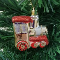 See more information about the Red & Gold Train Tree Decorations 3 Pack 7cm