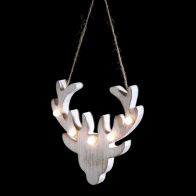 See more information about the 5 LED White Indoor Hanging Stag Head Table Decoration Battery 14x14cm
