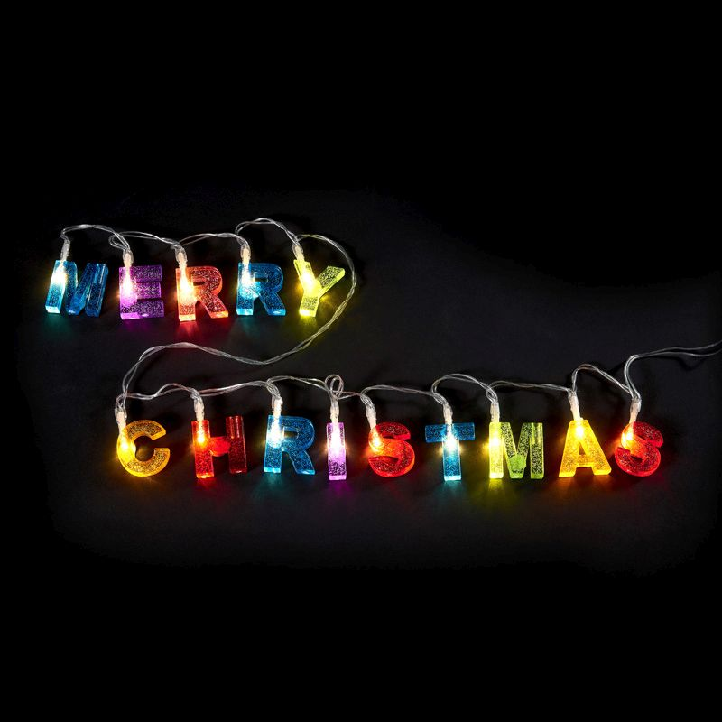 14 LED Multicolur Indoor Merry Christmas Glitter Light Battery 98cm