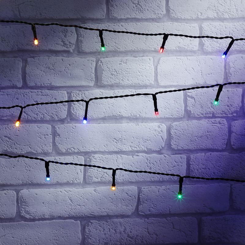 200 LED Multicolour Outdoor Animated Fairy Light String Battery 15m